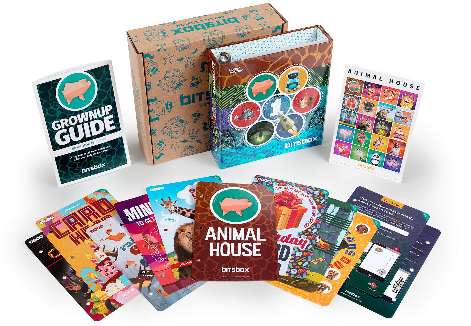 Bitsbox shown with a number of examples of themes that might come in this kids computer coding box.
