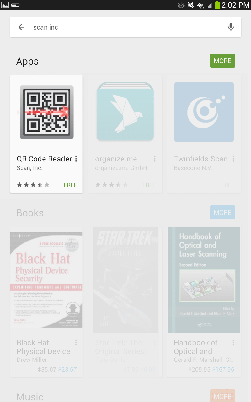 Android store showing QR Scanner apps.