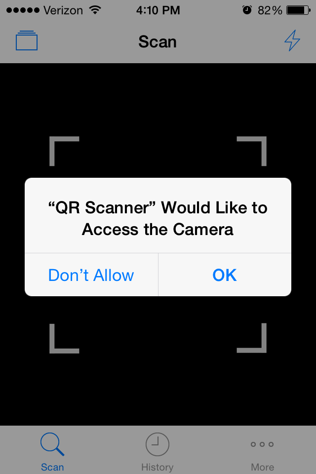 Screenshot of QR Scanner app asking to access camera