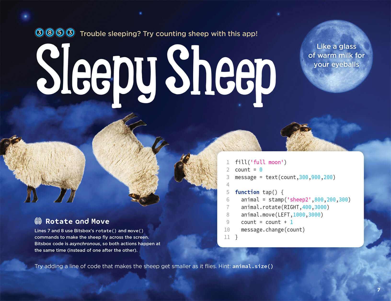 Help your kids learn to code with the Sleepy Sheep app.